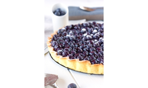 Blackcurrant Tart with French Flan Pastry